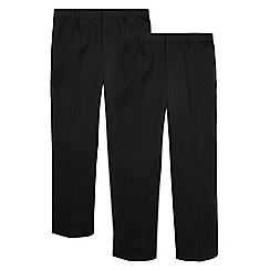 Debenhams - Pack of two black generous fit school trousers