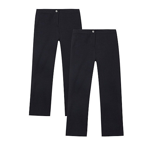 Debenhams - Girl+s pack of two navy school uniform trousers