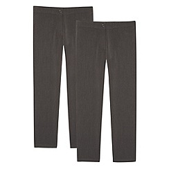 Debenhams - Girl's pack of two grey school uniform trousers