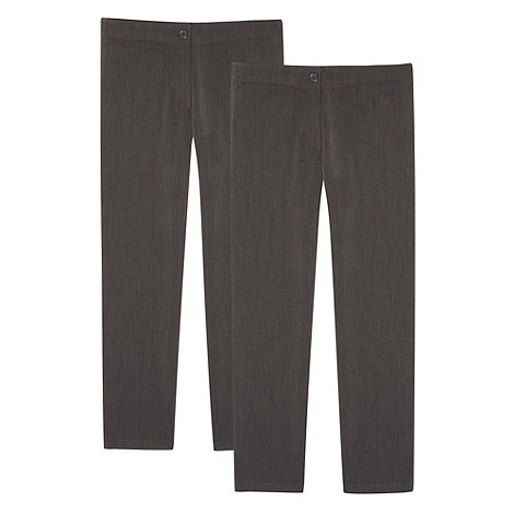 Debenhams - Girl+s pack of two grey school uniform trousers