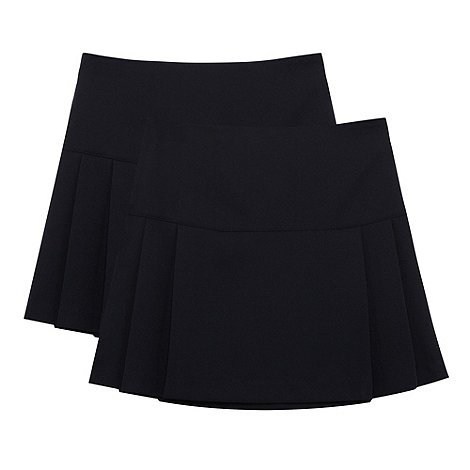 Debenhams - Girl+s pack of two navy kilt school uniform skirts