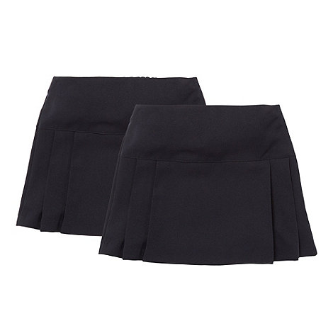 Debenhams - Girl+s pack of two black kilt school uniform skirts