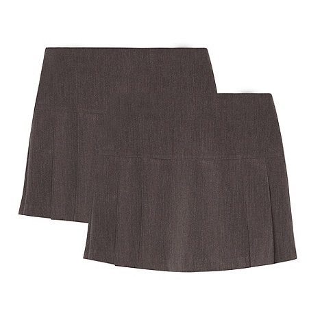 Debenhams - Girl+s pack of two grey kilt school uniform skirts