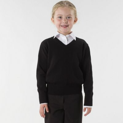 Girls Black V-neck School Jumper