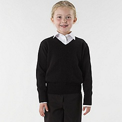Debenhams - Girl's black v-neck school uniform jumper