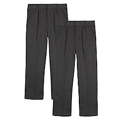 Debenhams - Pack of two boys' grey plated front trousers