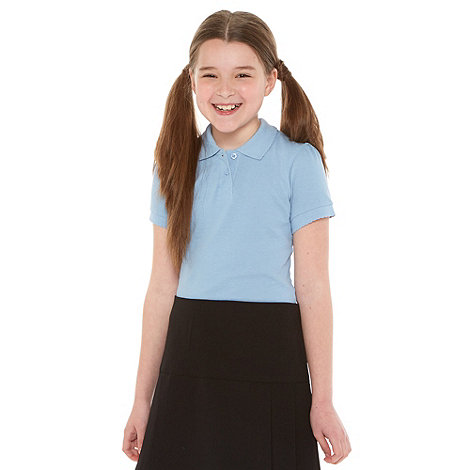 Debenhams - Girl+s pack of two blue school uniform polo shirts
