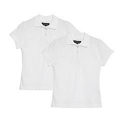 Debenhams - Girl's pack of two white school uniform polo shirts