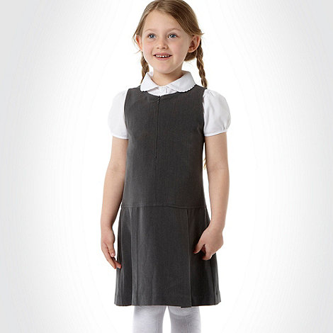 Debenhams - Girl+s grey school uniform pinafore dress