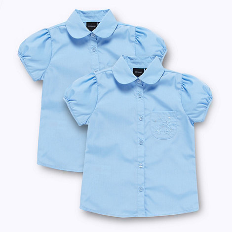 Debenhams - Girl+s pack of two blue school uniform blouses