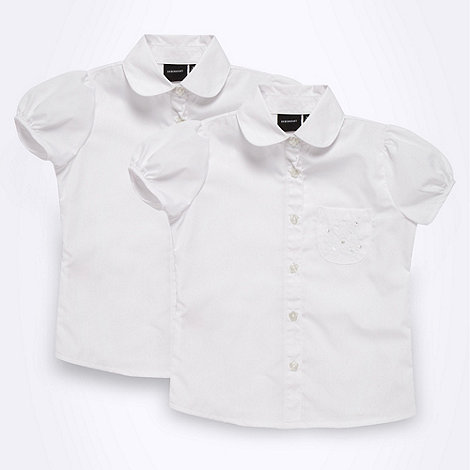 Debenhams - Girl+s pack of two white school uniform embroidered blouses