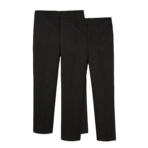 Debenhams - Boy+s pack of two black pleated school uniform trousers