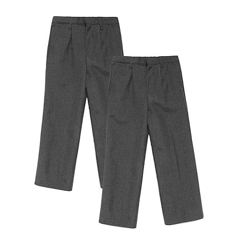 Debenhams - Boy+s pack of two grey school uniform pleated front trousers