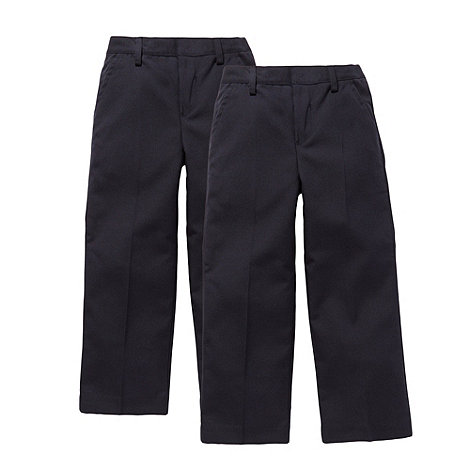Debenhams - Boy+s pack of two navy school uniform trousers