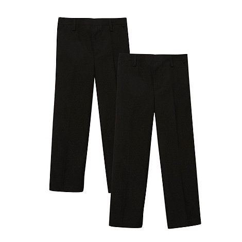 Debenhams - Boy+s pack of two black flat front school uniform trousers