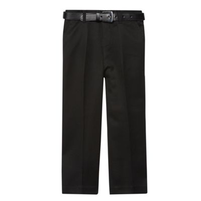Boys Black Flat Front Belted School Trousers