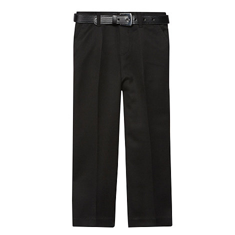 Debenhams - Boy+s black flat front belted school uniform trousers