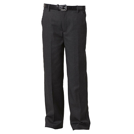 Debenhams - Boy+s grey flat front belted school uniform trousers