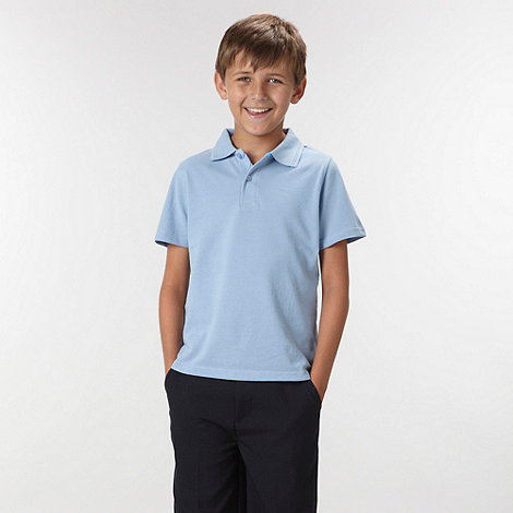 Debenhams - Boy+s pack of two blue school uniform polo shirts