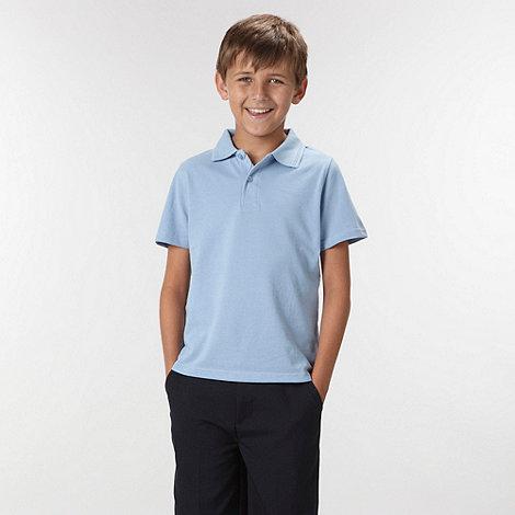 Debenhams - Boy+s pack of two blue school uniform polo shirts