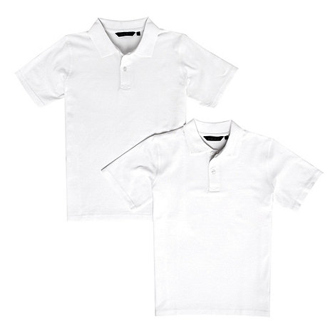 Debenhams - Boy+s pack of two white school uniform polo shirts