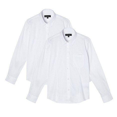 Debenhams - Girl+s pack of two white school uniform blouses