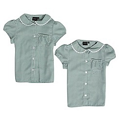 Debenhams - Girl's pack of two green gingham school uniform blouses
