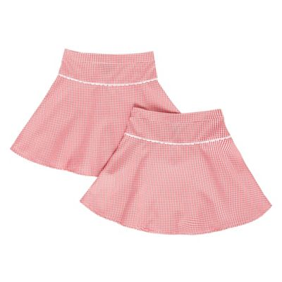 Girls Pack Of Two Red Gingham School Skirts