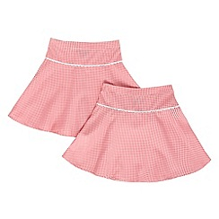 Debenhams - Girl's pack of two red gingham school uniform skirts