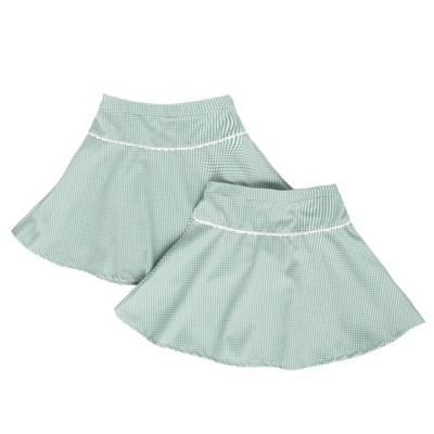 Girls Pack Of Two Green Gingham School Skirts