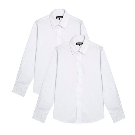 Debenhams - Boy+s pack of two white school uniform shirts