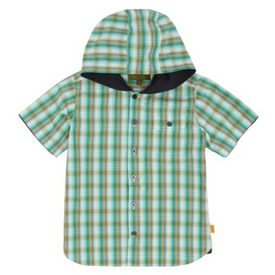 Boys Green Hooded Check Shirt
