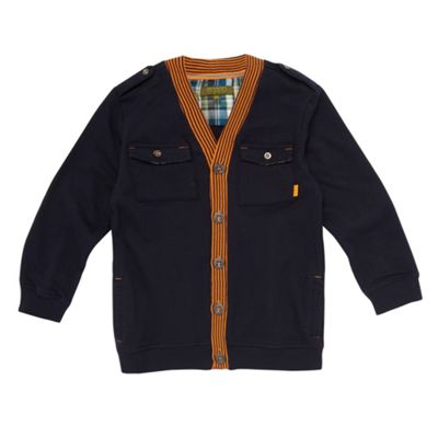 Boys Navy Jersey Cardigan