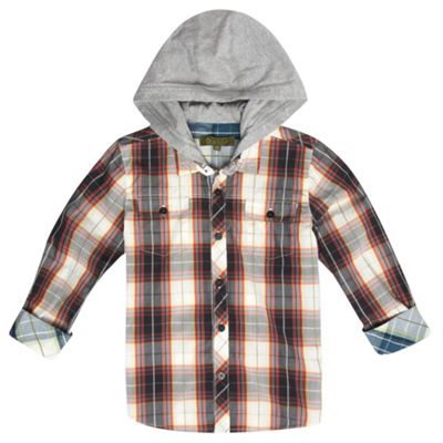 Boys Red Hooded Check Shirt