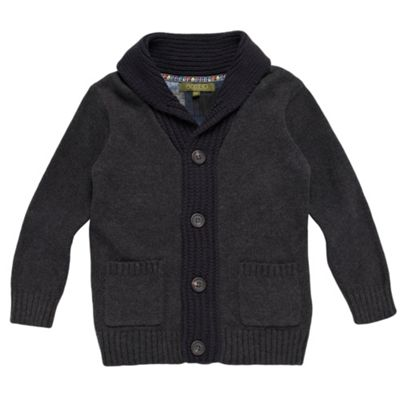 Boys Grey Ribbed Shawl Collar Cardigan