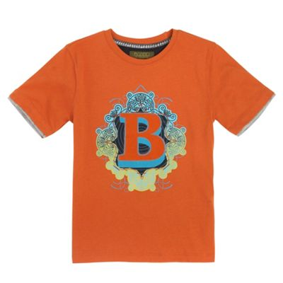 Boys Orange Logo Print T-shirt