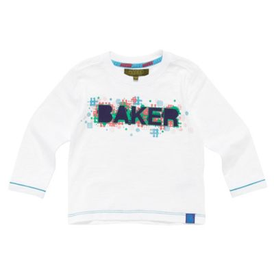 Boys White Textured Logo T-shirt