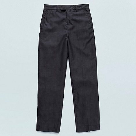 Baker by Ted Baker - Boy+s dark grey flat front trousers