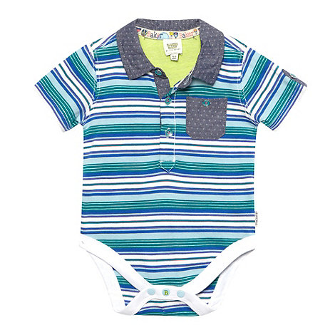 Baker by Ted Baker - Babies blue striped polo collar bodysuit
