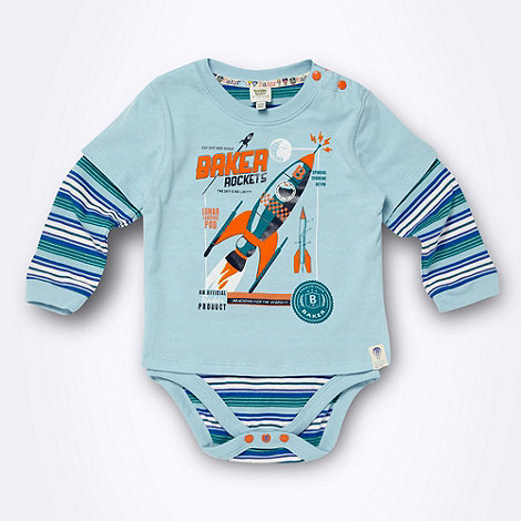 Baker by Ted Baker - Babies blue 2-in-1 rocket t-shirt and bodysuit
