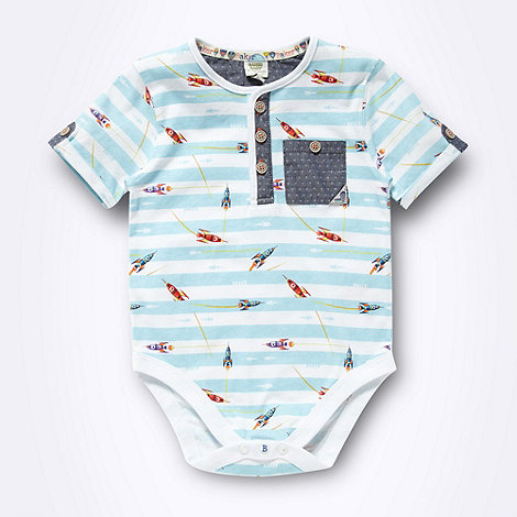 Baker by Ted Baker - Babies blue striped rocket printed bodysuit