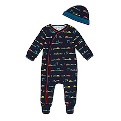 Baker by Ted Baker - Baby boys' navy train print sleepsuit and hat set