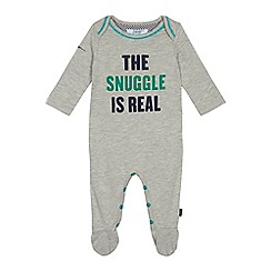 Baker by Ted Baker - Baby boys' grey 'The snuggle is real' print sleepsuit