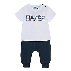 Baker by Ted Baker - Baby boys' white train print t-shirt and green bottoms set