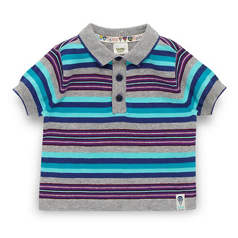 Baker by Ted Baker - Babies grey striped knit polo shirt