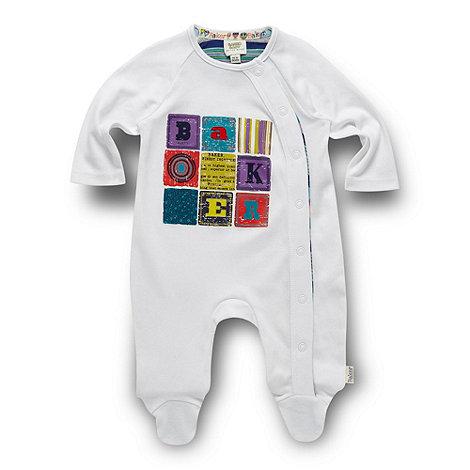 Baker by Ted Baker - Babies white block printed sleepsuit