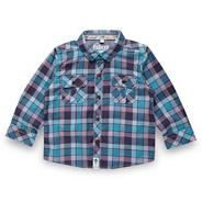 Babies turquoise herringbone checked shirt