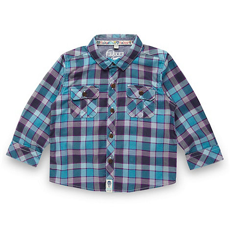 Baker by Ted Baker - Babies turquoise herringbone checked shirt
