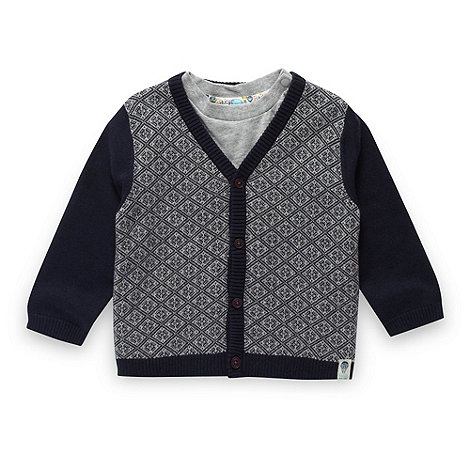 Baker by Ted Baker - Babies navy cardigan and t-shirt set