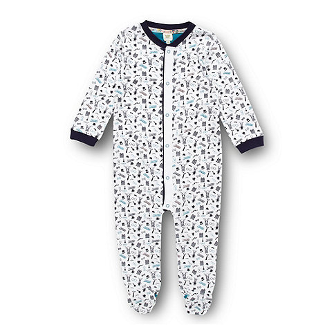 Baker by Ted Baker - Babies white hare printed sleepsuit